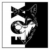 Vector Image Of The Head A Nice Fox. Nice Forest Small Animal. Black Tribal Tattoo. Vector Illustrat poster