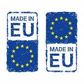 Made In European Union, Eu Vector Letter Stamp. Vector Illustration Of Letter Rubber Stamp With A Eu poster