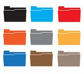 Folders Icon Set Colorful On White Background. Flat Style. Computer Folder Icon For Your Web Site De poster