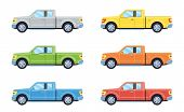 Off-road 4x4 Pickup Car. Side View Offroad Car In Different Colors. Flat Style. Vector Illustration. poster