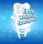 Extra Whitening Toothpaste Healthy Teeth Concept. Banner Vector Realistic Illustration 3d Effect Aft poster