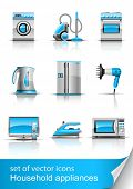set icon of household appliances vector illustration isolated on white background