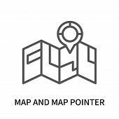 Map And Map Pointer Icon Isolated On White Background. Map And Map Pointer Icon Simple Sign. Map And poster