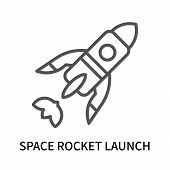 Space Rocket Launch Icon Isolated On White Background. Space Rocket Launch Icon Simple Sign. Space R poster