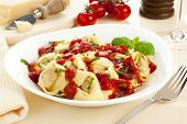 Tortelloni pasta dish with tomato sauce and fresh basil