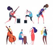 Music Band. Cartoon Musicians, Punk Guys With Musical Instruments Playing Rock Music On Stage Vector poster