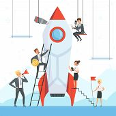 Startup Concept. Business Characters Launch New Project Shuttle Rocket Symbols Success Startup Freed poster
