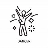 Dancer Icon Isolated On White Background. Dancer Icon Simple Sign. Dancer Icon Trendy And Modern Sym poster