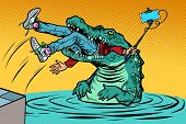 Crocodile Attacked A Man. Dangerous Selfie. Comic Cartoon Pop Art Retro Vector Illustration Drawing poster