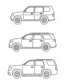 Set Of Personal Cars. Set Of Off-road Automobiles In Flat Style. Offroad Suv. Side View. Vector Illu poster
