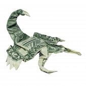 Money Origami Green Scorpion Folded With Real One Dollar Bill Scorpio Zodiac Sign Isolated On White  poster