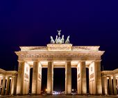 Illuminated Neoclassical Brandenburg Gate (Brandenburger Tor), one of the best known landmarks of Ge poster