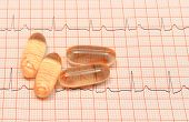 Tablets Or Supplements On Electrocardiogram Graph Ekg Heart Rhythm, Concept Of Health Care And Medic poster