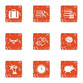 Private Data Icons Set. Grunge Set Of 9 Private Data Icons For Web Isolated On White Background poster