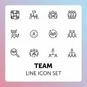 Team Line Icon Set. Staff, Success, Personnel Selection. Teamwork Concept. Can Be Used For Topics Li poster