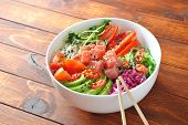 Organic Food. Fresh Seafood Recipe. Tuna Poke Bowl With Crystal Noodles, Fresh Red Cabbage, Avocado, poster