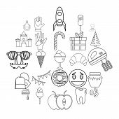 Confectionery Shop Icons Set. Outline Set Of 25 Confectionery Shop Icons For Web Isolated On White B poster