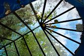 Roof In The Form Of Glass Stained Glass, Dirty Old Stained Glass With Leaves And Debris poster