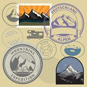 Retro Post Stamps Or Badges Set With The Mountains. Outdoor Expedition, Mountain Adventure Signs Or  poster