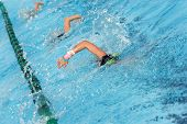 stock photo of swim meet  - a group of swimmers practice in a swim lane - JPG