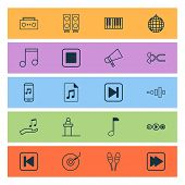 Multimedia Icons Set With Synthesizer, Stop Music, Drum Sticks And Other Frequency Elements. Isolate poster