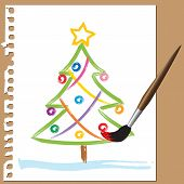 Childlike Painting - Xmas Tree