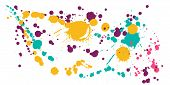 Gouache Paint Stains Grunge Background Vector. Graphic Ink Splatter, Spray Blots, Dirt Spot Elements poster
