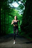 Run To Success. Sport And Sportswear Fashion. Sport Success. Fitness Woman With Good Athlete Body. F poster