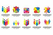 Human Character For Colorful Community Logo Set. Abstract Man Figure Logo. People Logo. Friendship I poster