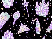 Cute Cartoon Little Princess Seamless Pattern. Crown, Coctail, Magic Wand, Tiara And Star On Deep Sp poster