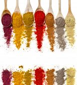 pic of mixture  - border frame of powder spices on spoons isolated on a white background - JPG