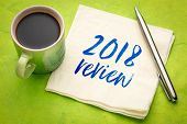 2018 review text - handwriting on a napkin with a cup of coffee poster