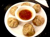 picture of doughy  - Momos are made with a simple flour - JPG