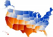 stock photo of the united states america  - Vector clip art map of United States of America USA with all fifty states showing including Alaska and Hawaii with chrome reflections in the colors of the American flag - JPG