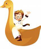 Постер, плакат: Девочка верхом на утка