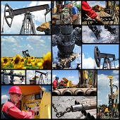 stock photo of pipe wrench  - Industrial collage showing workers at work on oil and gas exploration and production - JPG