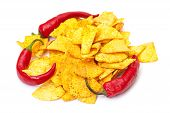 Spicy Corn Chips With Chilli Pepper poster