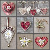 stock photo of edelweiss  - Collage of photos with hearts and edelweiss - JPG