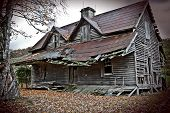 image of abandoned house  - Crumbling old haunted house perfect for Halloween - JPG