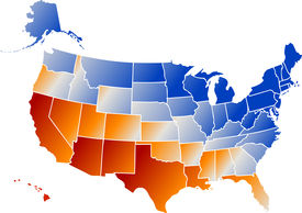 picture of united states map  - Vector clip art map of United States of America USA with all fifty states showing including Alaska and Hawaii with chrome reflections in the colors of the American flag - JPG