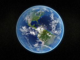 stock photo of planet earth  - photorealistic 3d rendering of planet earth viewed from space  - JPG