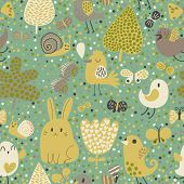 Childish background with rabbit, snail, bird and butterfly in vector. Seamless pattern can be used f