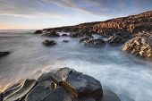 picture of promontory  - The Giants Causeway in North Ireland during sundown North Ireland - JPG