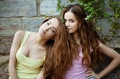 stock photo of identical twin girls  - Beautiful young happy twins outdoors - JPG
