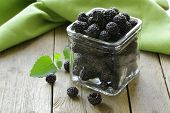 stock photo of blackberries  - organic ripe black berry raspberry  - JPG