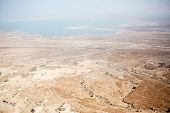 foto of masada  - View to the water of the Dead Sea from Masada fortress Israel - JPG