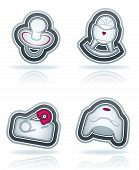 stock photo of teats  - Four icons in relation to a Baby born time  - JPG
