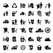 stock photo of reprocess  - Big Garbage And Cleaning Icons Set Created For Mobile - JPG