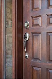 picture of front door  - Wooden Front Door of an Expensive Home - JPG