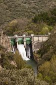 image of dam  - Montearenas dam on the Boeza river in Ponferrada El Bierzo Spain - JPG